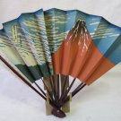 Vintage Japanese Asian Fan Ukiyo-e Red Mt. Fuji Katsushika Hokusai Lacquered Wood 11 In