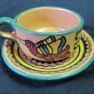 Vintage F.C.A. Peru Handpainted Inca Design Green Rim Cup and Saucer