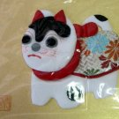 Vintage Set Japanese Fabric Art Cat in Brocade Coat and Plant