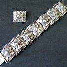 Vintage Alex & Co. Sterling Silver Filigree Panel Linked Bracelet & Brooch Pin Siam 2.9 oz