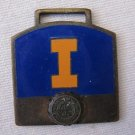 Antique 1920's University of Illinois Letter I Brass Cloisonne Medal Badge Pin 1.25 In Orange Blue