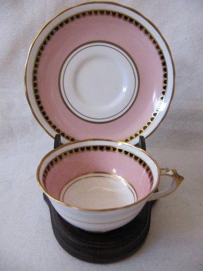 Antique TUSCAN English Bone China Demitasse Cup & Saucer White Pink Black Gold MINT