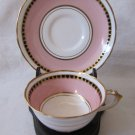 Antique TUSCAN English Bone China Demitasse Cup & Saucer White Pink Black Gold MINT