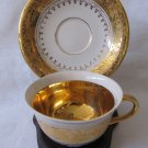 Vintage KERAFINA Bavaria Demitasse Cup & Saucer White Gold Gilt Vine