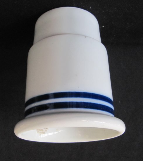Vintage DANSK CHRISTIANSHAVN BLUE China Hurricane Lamp Base Bottom White Blue Rings 4.5 In