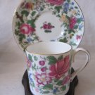 CROWN Staffordshire Bone China Demitasse Cup & Saucer Thousand Flowers Colorful Floral Gilt MINT