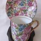ROYAL CROWN Demitasse Cup & Saucer 55/1562 Colorful Chintz All-Over Floral Roses Gold Gilt Trim MINT