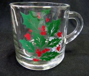 Holly Leaf and Berry Christmas Clear Glass Coffee Mug 3 In MINT