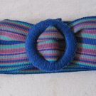 Vintage Fabric Cinch Belt Striped Blue Teal Purple Pink Red 3 x 36 Inches in EUC