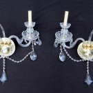 Pair Italian RCR 24% Lead Crystal Brass Wall Sconces Fixtures 20 x 20 In Light Lighting