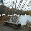 Digital Art JPG Photo Cutler Park Charles River Scene Early Fall Bench