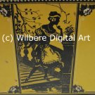 Digital Art JPG Photo Flapper Woman Silhouette on Vintage Yellow Tin