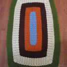 Vintage Handmade Crochet Afghan Lap Bold 5 Multi Color Rounds 42x60 In
