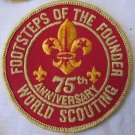 Vintage Boy Scout Footsteps of the Founder 75th Anniversary World Scouting Patch Badge 3 Inch