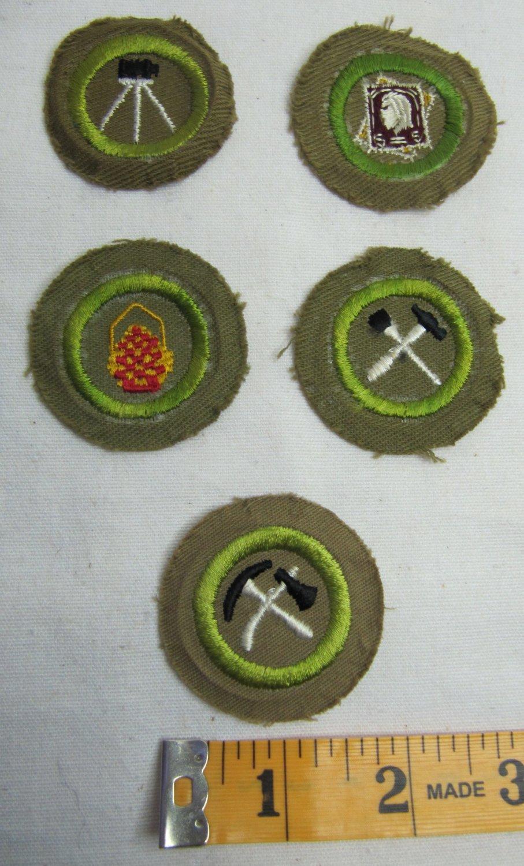 Lot of 5 Vintage Boy Scout Merit Badges Crimped Type C Type D c. 1936 - 1946