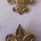 Lot of 2 Vintage Boy Scout Pins Trefoil Fleur de Lis Eagle Shield B.S.A. Gold Tone 7/8 x 13/16 Inch