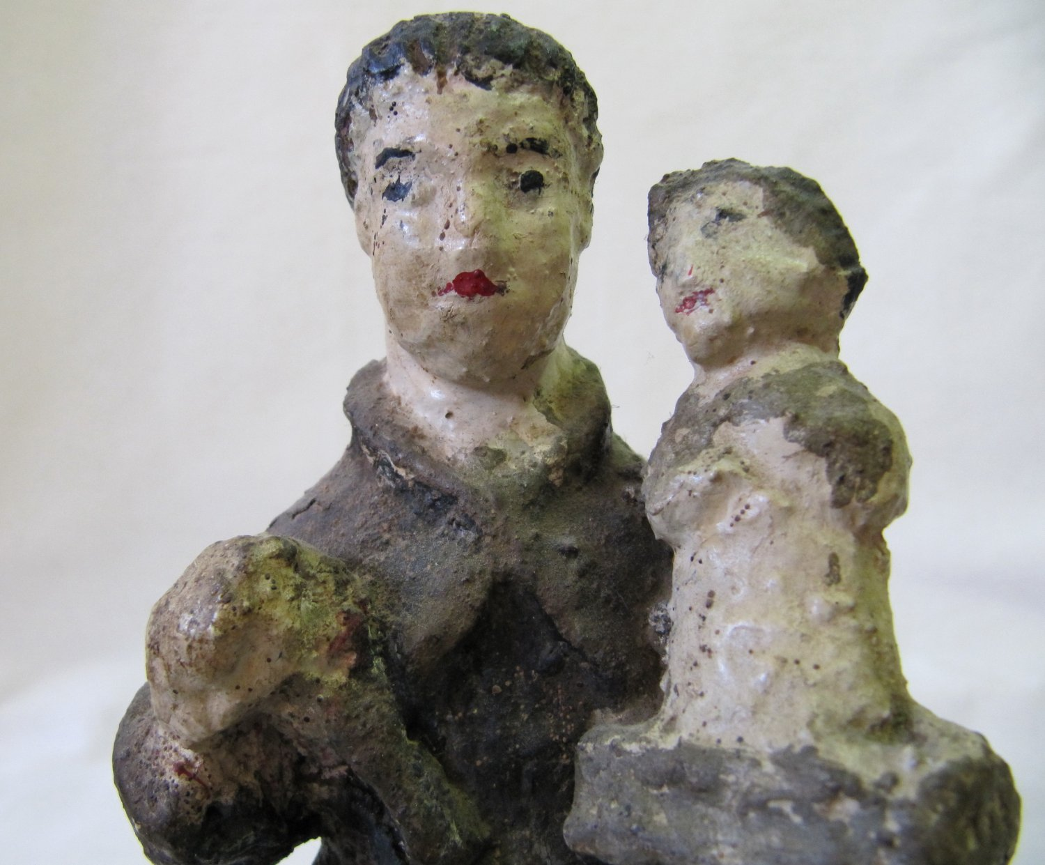 Ceramic Religious Figure Priest Monk with Child South American Antiquity c. 1600s