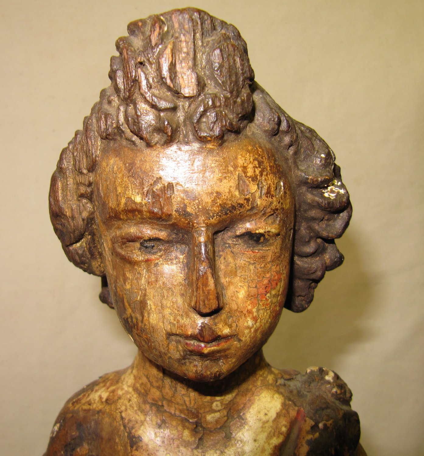 Peruvian Antiquity Religious Wood Carving Shepherd Boy Figure on Wood Base 20 Inch S. American