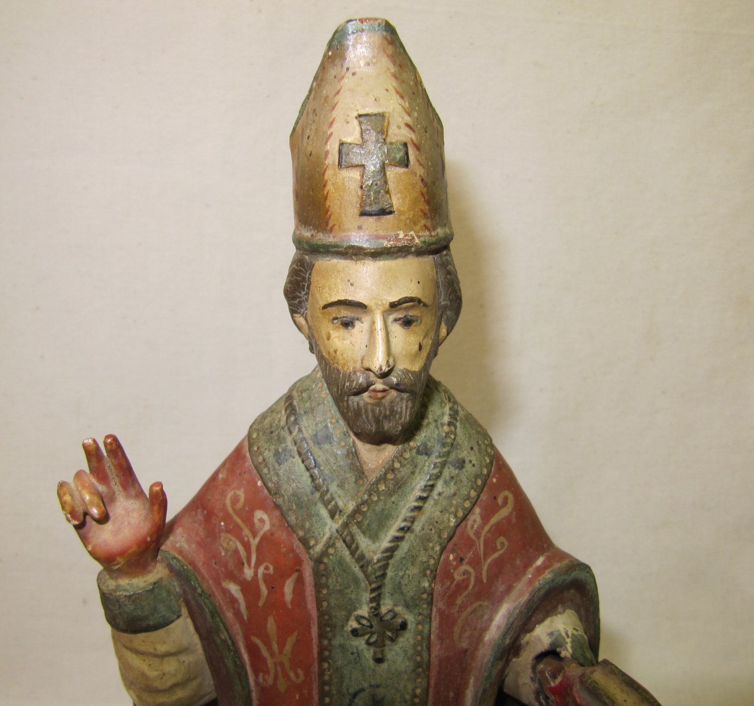 Peruvian Wood Carving Plaster Religious Figure Priest with Bible Painted Antiquity c. 1600s