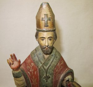 Wood Carving Plaster Religious Figure Priest with Bible Painted ...