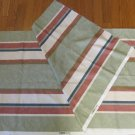 "Vintage Bloomcraft Textured Fabric Remnant Striped Grn Blue Rose Cream Lt Brown 54"" W 2 Yds L"