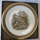 LENOX Ltd Issue Woodland Wildlife Boehm Cottontail Rabbits Plate 1975 24k Gold Trim in Box