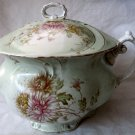 Antique Maddock&#39;s Lamberton Works Royal Porcelain Chamber Pot with Lid Pale Green with Floral Gilt
