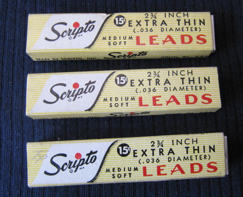 "Lot of 3 Vintage Boxes of Scripto Pencil Leads 2.75"" Extra Thin .036 Medium Soft F 840HB Atlanta"