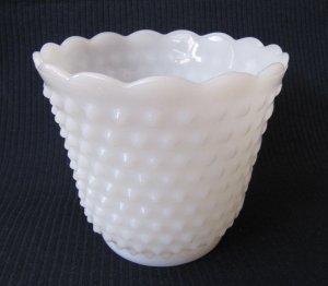 Vintage Hobnail White Milk Glass Flower Pot Fluted Rim 4 Inches Marked 15
