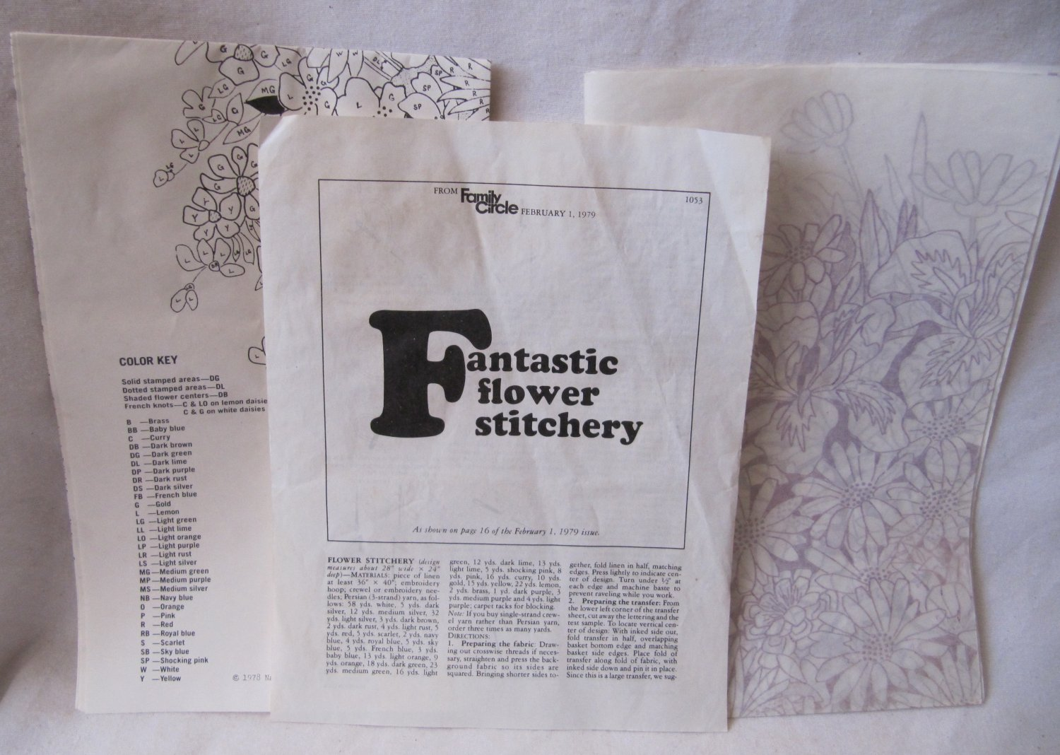 Vintage Fantastic Flower Stitchery Embroidery Pattern Iron-On 0205 National Paragon Family Circle