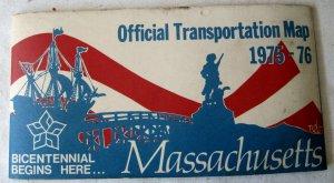 Vintage Official Massachusetts Map Road Highway Transportation 1976 Bicentennial Dukakis