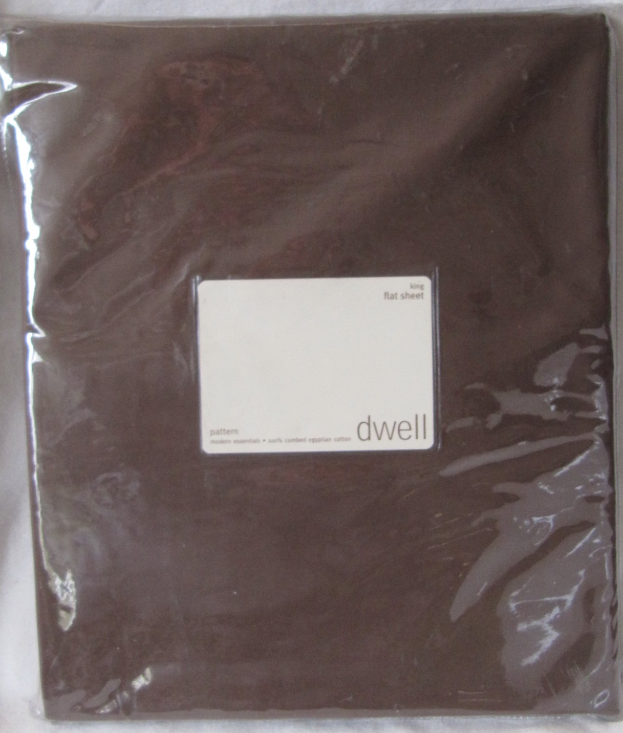 DWELL King Flat Sheet Chocolate Brown Combed Egyptian Cotton 210 Thread Count Percale New
