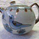 Vintage Ken Edwards El Palomar Mexico Pottery Bluebird Glazed Teapot Blue Brown 5 Inches