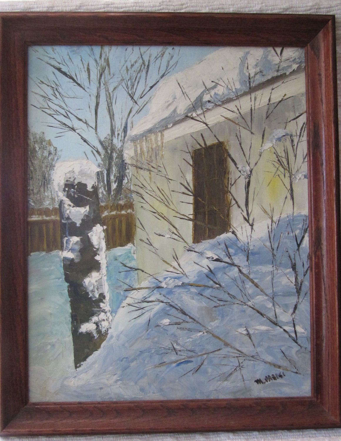 M. PARISI Signed Oil Painting Canvas Winter Scene Drifting Snow Art 18.5 x 23 In in Wood Frame