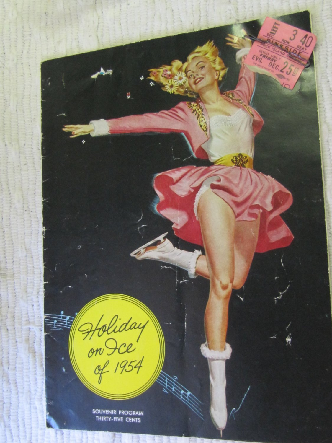 Vintage Holiday on Ice of 1954 Program with Dec 25 1953 Rock Island Armory Ticket Stub