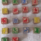18 Vintage Disney Character Wooden Blocks ABC Alphabet Numbers Colorful 1.25 x 1.25 Inches