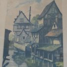 Vintage Signed Leray Hand Tinted Etching Painting Chartres Maisons sur l&#39;Eure River in Wood Frame