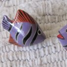 Vintage Tiger Barb Tropical Fish Shaped Pierced Earrings Purple Black Strips Orange Fins 1 Inch