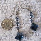 Vintage Deep Blue Glass Crystal Square and Beads Drop Dangle Pierced Earrings 2.25 Inches