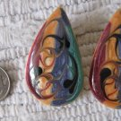 Vintage Enamel Swirl Multicolor Teardrop Shaped Pierced Earrings Rich Earth Tones 1.75 Inch