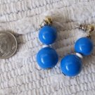Vintage Bright Blue Ball Bead Drop Dangle Pierced Earrings 1.25 Inches