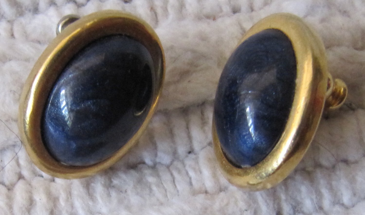 Vintage LCI Deep Blue Cabochon Set in Smooth Gold Tone Metal Oval Shaped Pierced Earrings .625 Inch