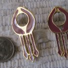 Vintage Retro Egyptian Eye Style Pierced Earrings Mauve Pink Goldtone 1.75 Inch