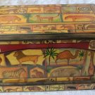 Vintage Roger la Borde Decoupage Lg Wooden Keepsake Box Lidded Nature Jungle Animals 14x8x8 In