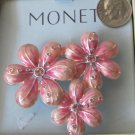 MONET Pink Flower Trio Pin Brooch MNRUI514 Figural Petals Rhinestones Silver Tone Back 2 Inch