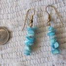 Vintage Pierced Earrings Aquamarine Light Blue Shell Bits Dangle Style 2 Inch