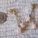 Vintage Pierced Earrings Dainty Light Pink Carved Shell Tulips Dangle Style 1.5 Inch