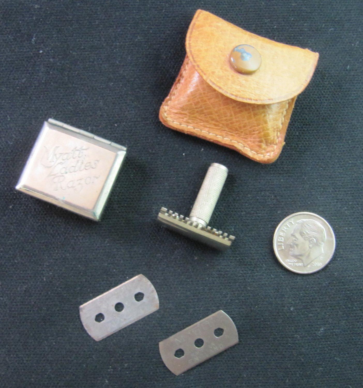 Antique Myatt's Ladies Miniature Safety Razor Shaving Set in Original Box & Case
