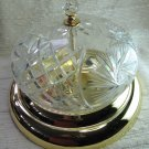 Cut Glass Bright Brass Ceiling Flush Mount Light Fixture 12 In
