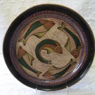Vintage Handpainted Plate Capula Michoacan 5 Green Gold Fish Mexican Pottery Ceramics Pointilism 10&quot;